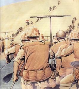 Ilustrasi Pasukan Mesir menyebrang terusan suez