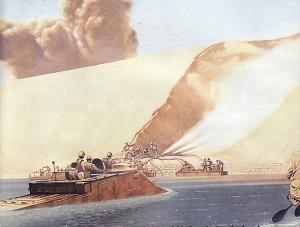 Ilustrasi Pasukan Mesir menyerang menyebrang terusan Suez